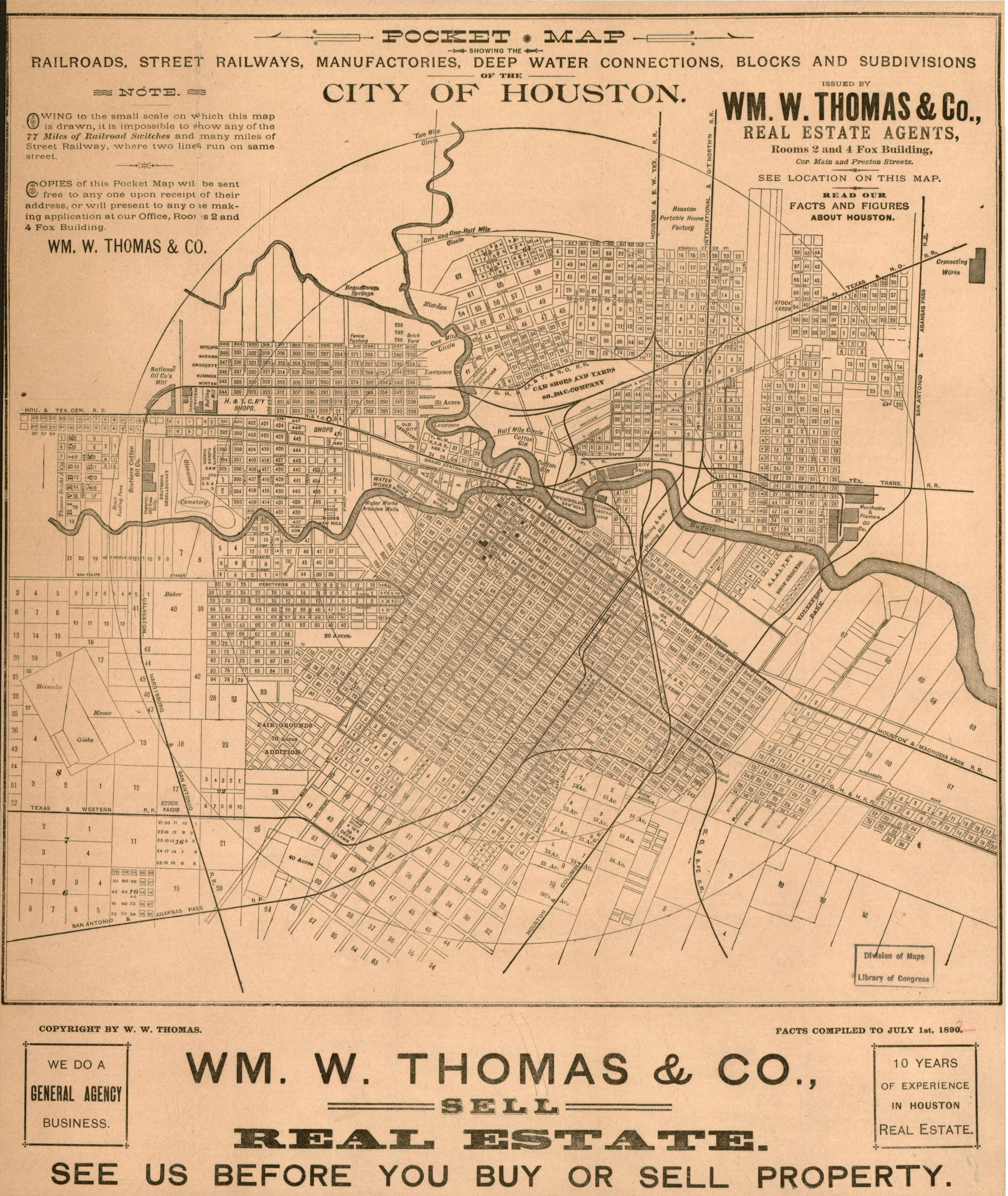 1890 Thomas Pocket Map Of Houston History 1377 Us History To 1877 - Map-of-the-us-in-1890